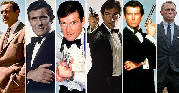 All Bonds in order: Sean Connery, George Lazenby, Roger Moore, Timothy Dalton, Pierce Brosnan and Daniel Craig