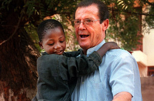 Sir Roger Moore in his duty as a UNICEF ambassador