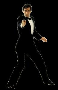 Timothy Dalton in the classic 007 pose