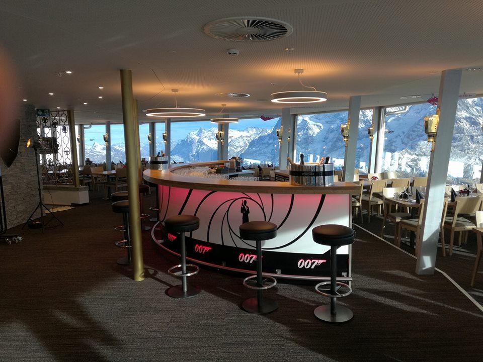 The new 007 bar inside the revolving restaurant - Photo: Schilthorn